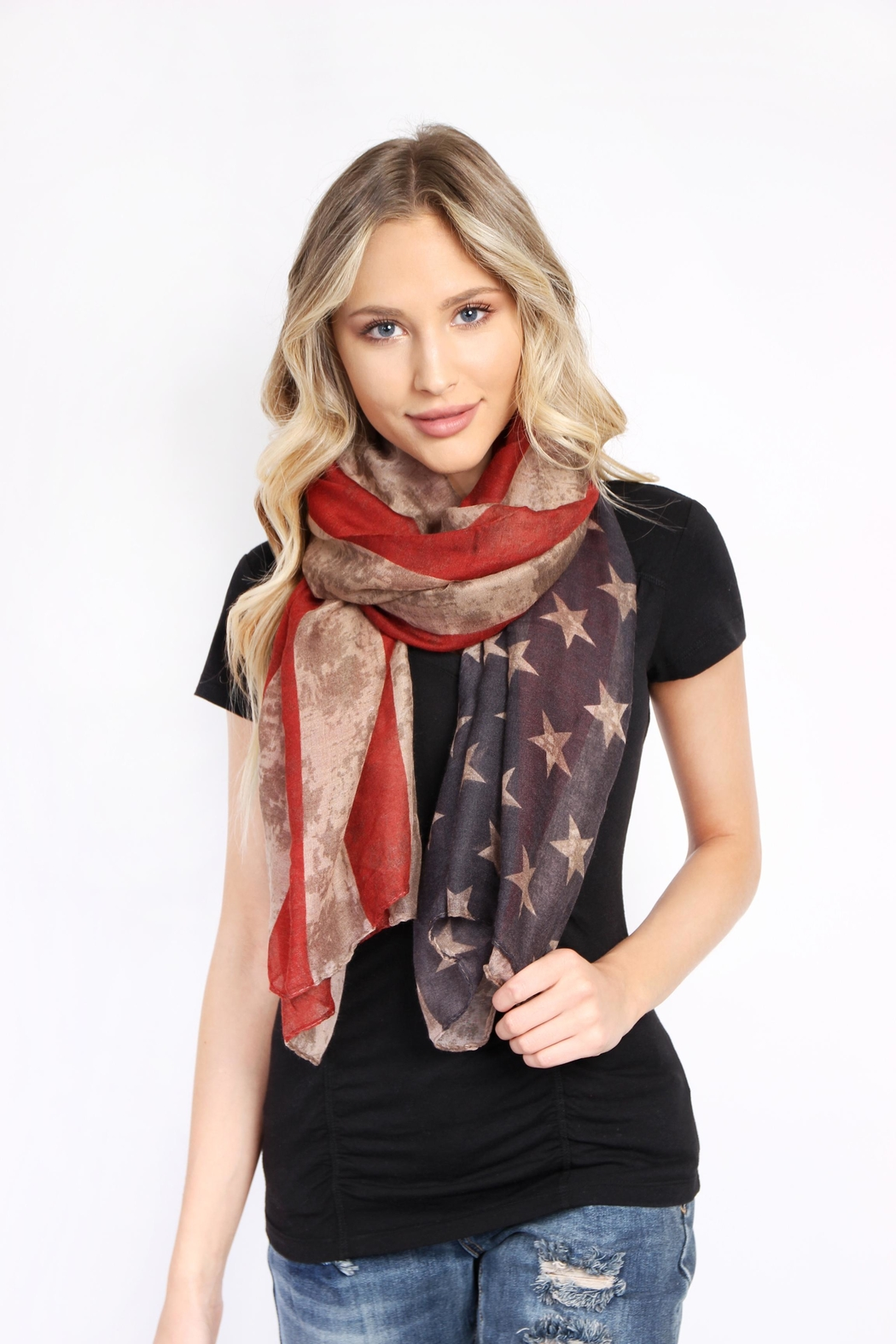 Riah Fashion American Flag Oblong Scarf - Front Full Image