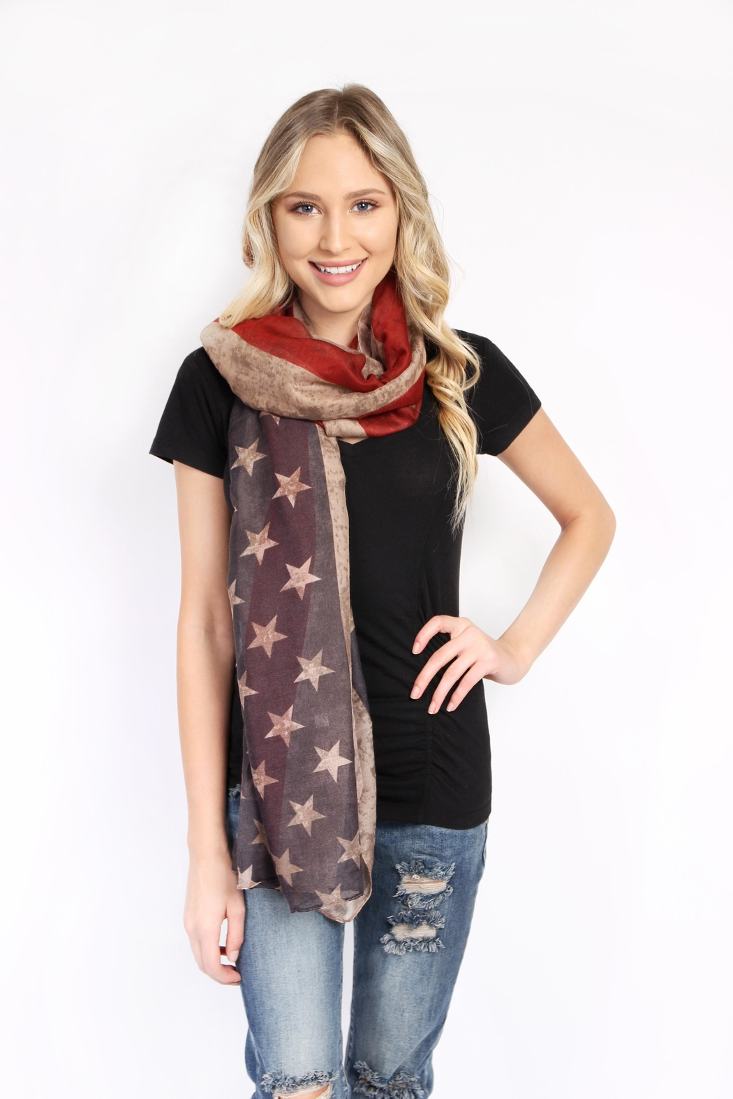 Riah Fashion American Flag Oblong Scarf - Side Cropped Image
