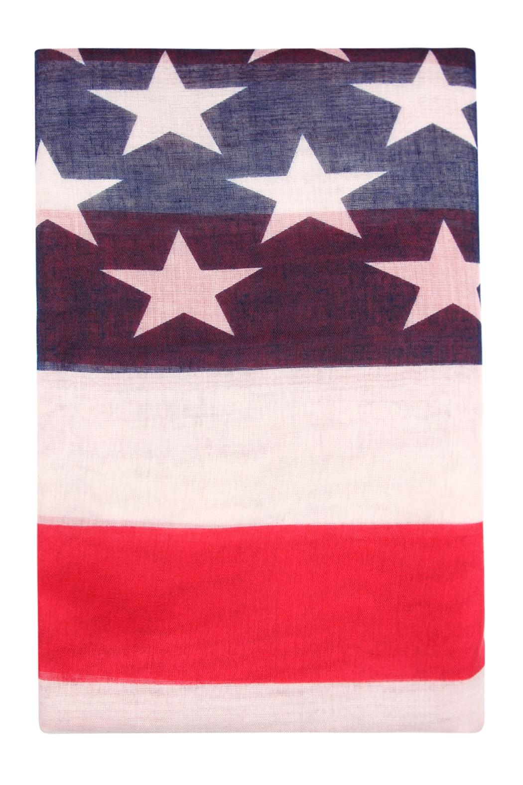 Riah Fashion American Flag Oblong-Scarf - Back Cropped Image