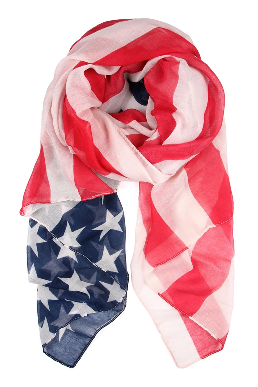 Riah Fashion American Flag Oblong-Scarf - Front Cropped Image