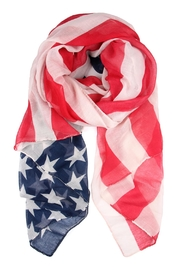 Riah Fashion American Flag Oblong-Scarf - Front cropped