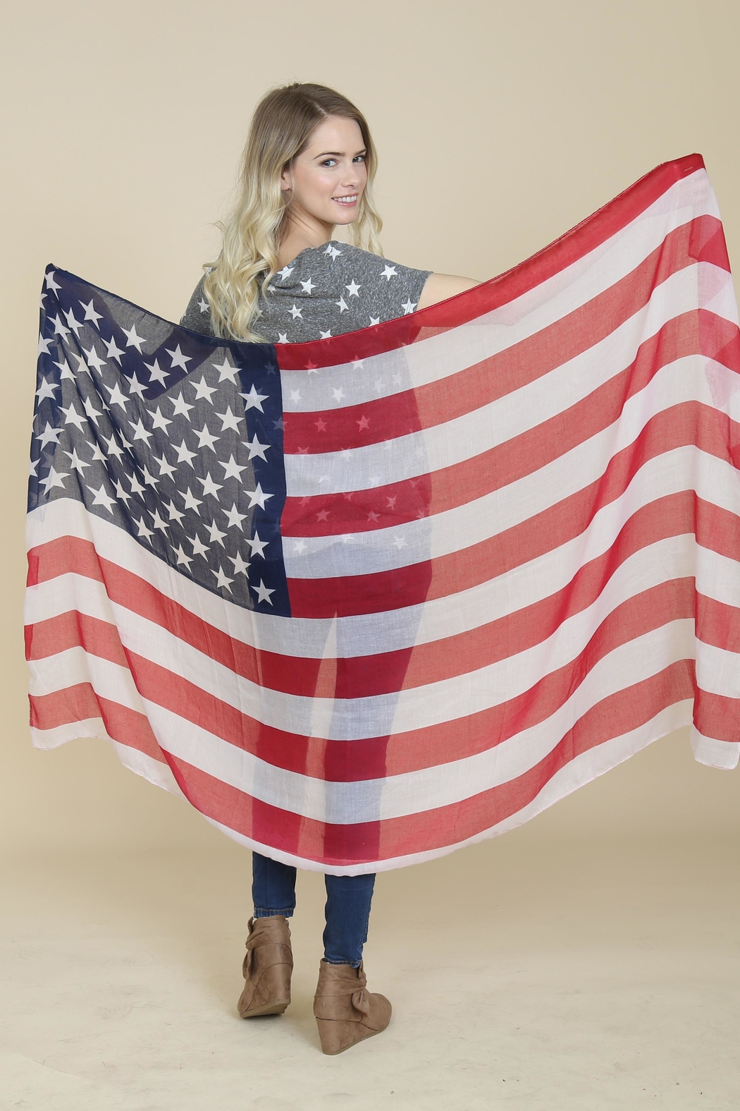 Riah Fashion American Flag Oblong-Scarf - Front Full Image