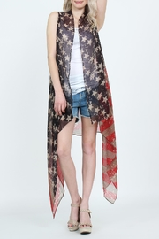 Riah Fashion American Flag Print-Cardigan - Product Mini Image