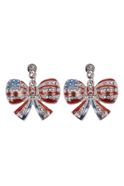 Riah Fashion American-Flag-Ribbon-Accent-Earrings - Product Mini Image