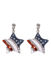 Riah Fashion American-Flag-Star-Accent-Earrings - Product Mini Image