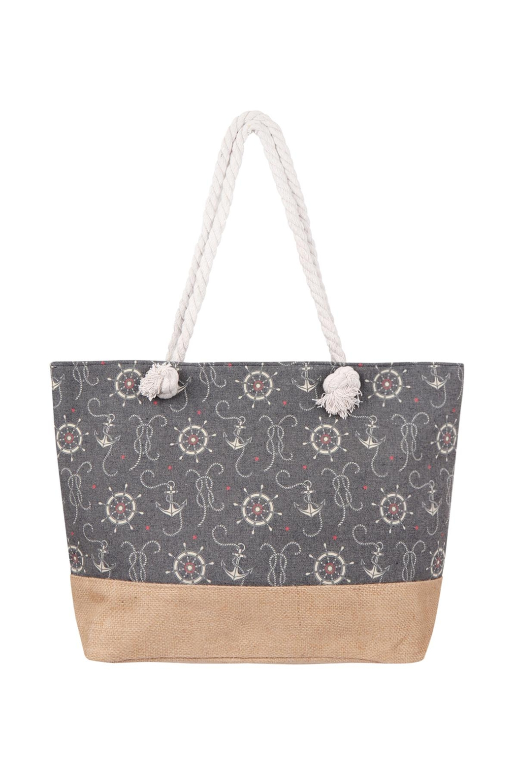 Riah Fashion Anchor Print-Tote Bag - Main Image