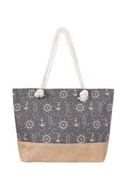 Riah Fashion Anchor Print-Tote Bag - Front cropped