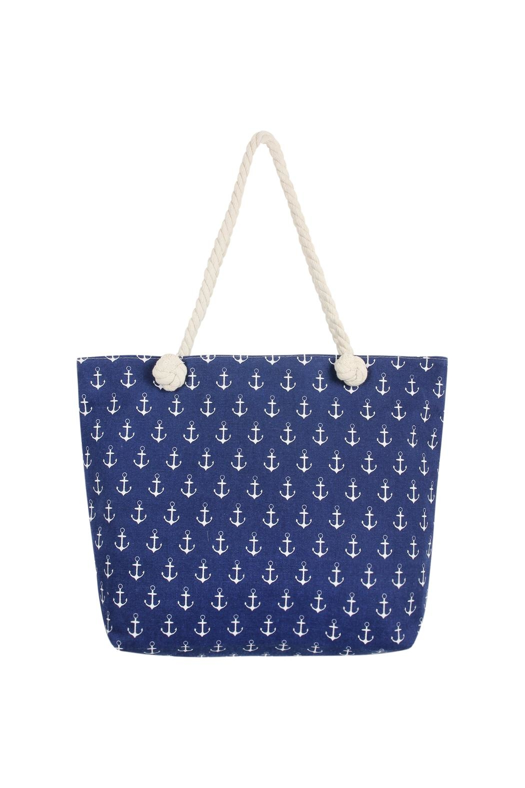 Riah Fashion Anchor Print Tote Bag - Main Image