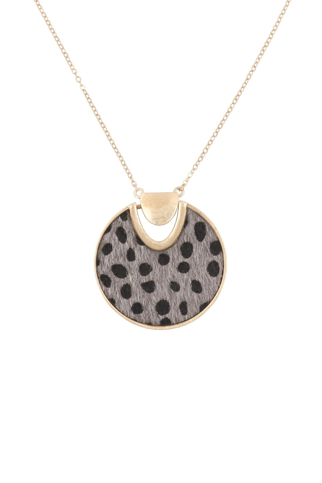 Riah Fashion Animal-Fabric-Round-Pendant-Necklace - Front Cropped Image