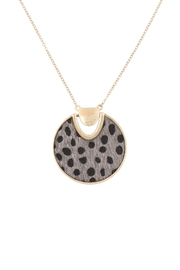 Riah Fashion Animal-Fabric-Round-Pendant-Necklace - Front cropped