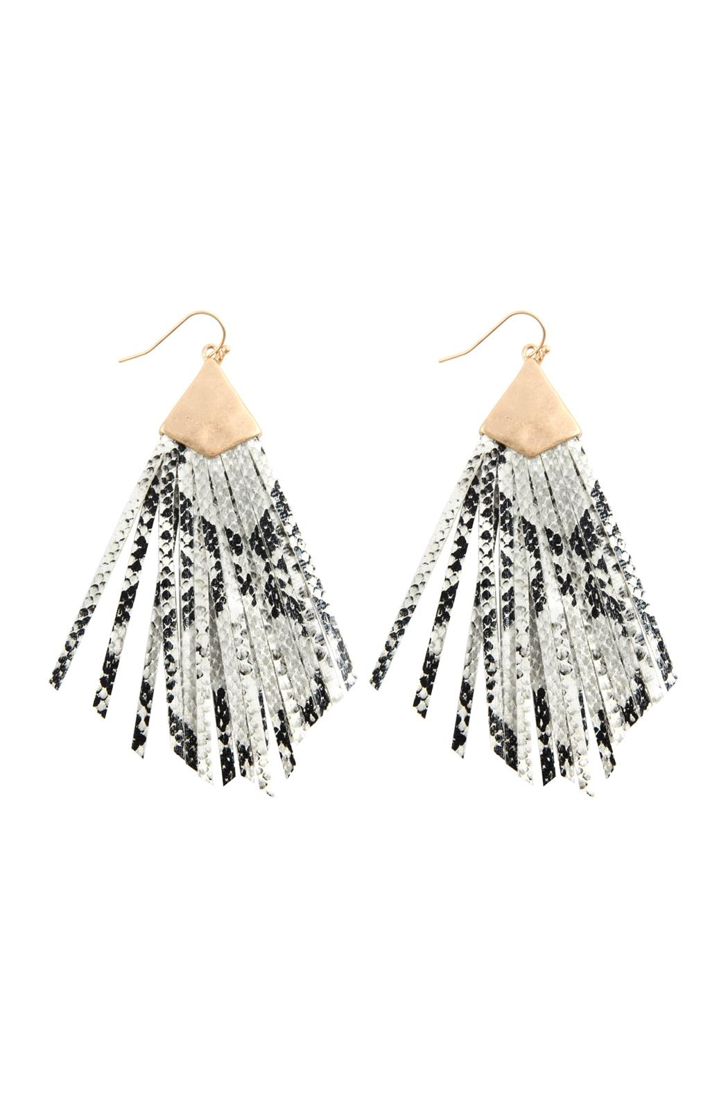 Riah Fashion Animal Print Fringe-Pu-Earrings - Main Image
