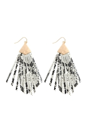 Riah Fashion Animal Print Fringe-Pu-Earrings - Product Mini Image