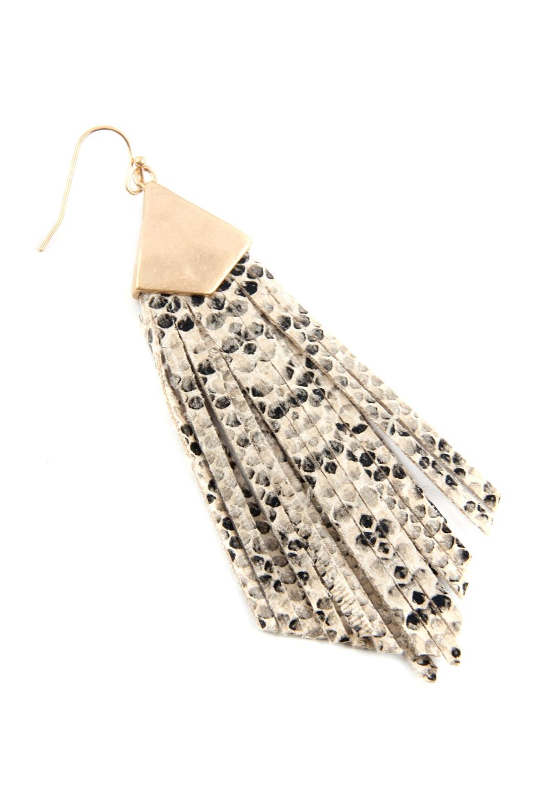 Riah Fashion Animal Print Fringe-Pu-Earrings - Front Full Image