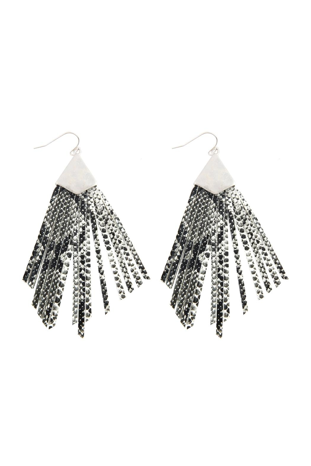 Riah Fashion Animal Print Fringe-Pu-Earrings - Front Cropped Image