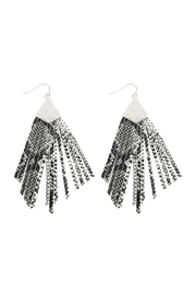 Riah Fashion Animal Print Fringe-Pu-Earrings - Front cropped