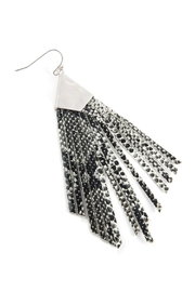 Riah Fashion Animal Print Fringe-Pu-Earrings - Front full body