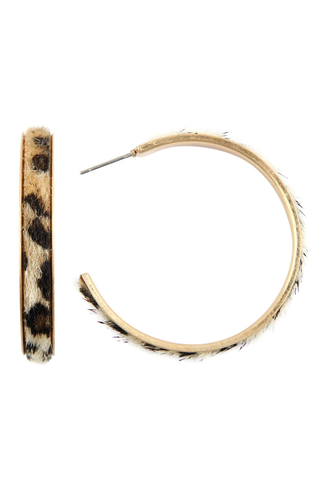 Riah Fashion Animal Print Hoop-Earrings - Main Image