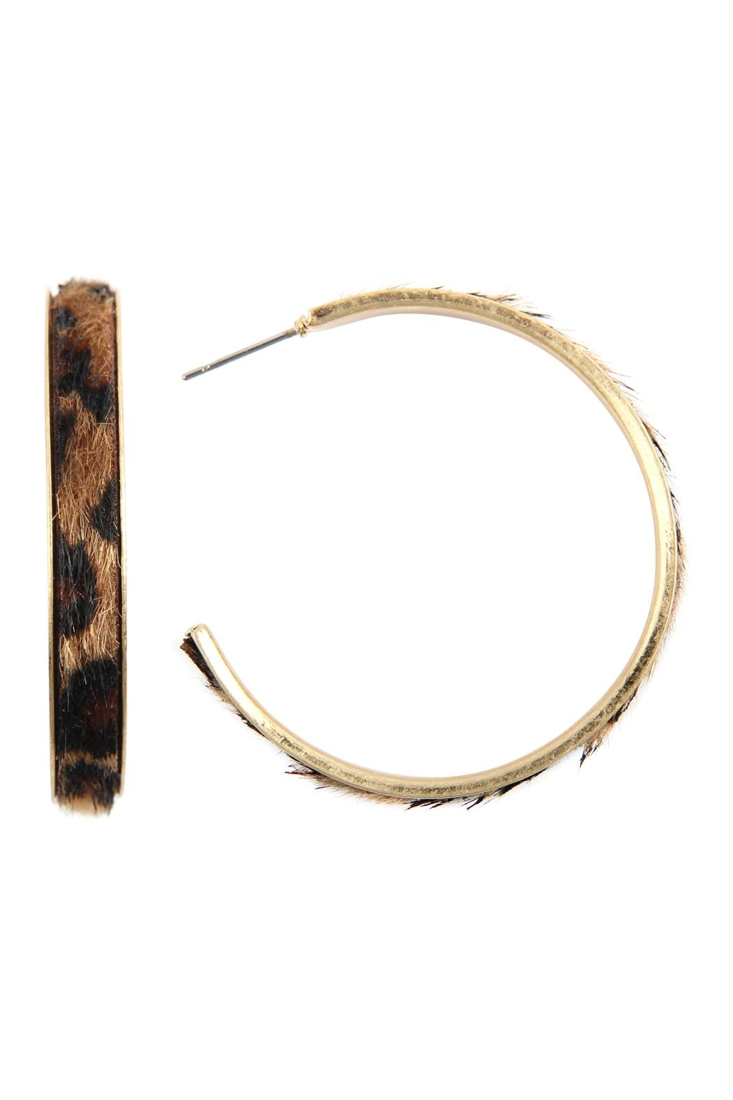 Riah Fashion Animal Print Hoop-Earrings - Front Cropped Image