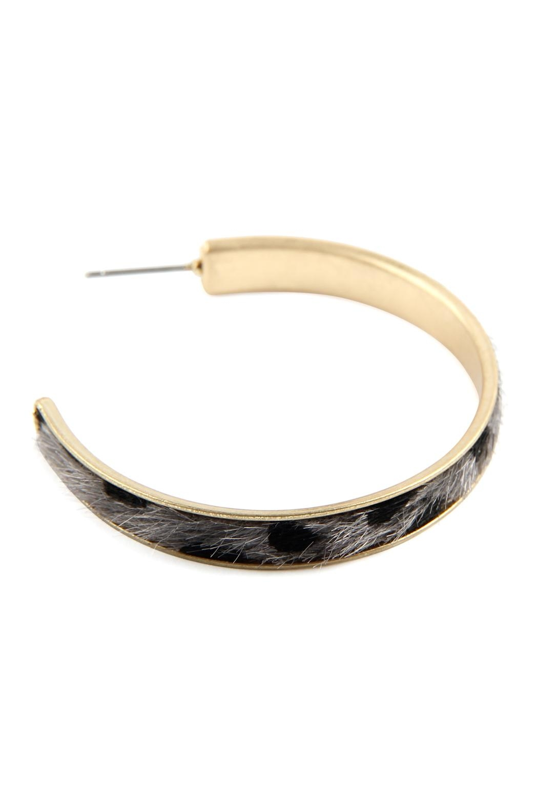 Riah Fashion Animal Print Hoop-Earrings - Front Full Image