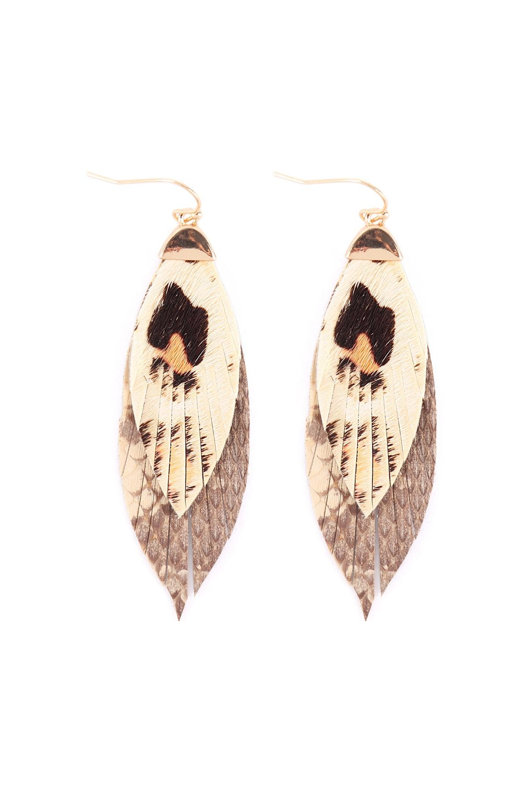 Riah Fashion Animal-Print-Leather-Fringe-Earrings - Front Cropped Image