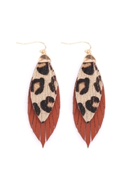 Riah Fashion Animal-Print-Leather-Fringe-Earrings - Front cropped