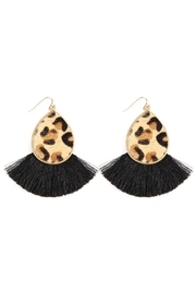 Riah Fashion Animal Print-Tassel Fringe-Hook-Earrings - Product Mini Image