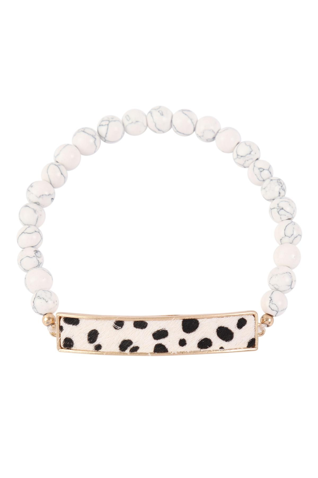 Riah Fashion Animal-Print-With-Beaded-Stone-Bracelet - Front Cropped Image