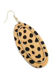Riah Fashion Animal Printed Oblong-Leather-Earrings - Front full body