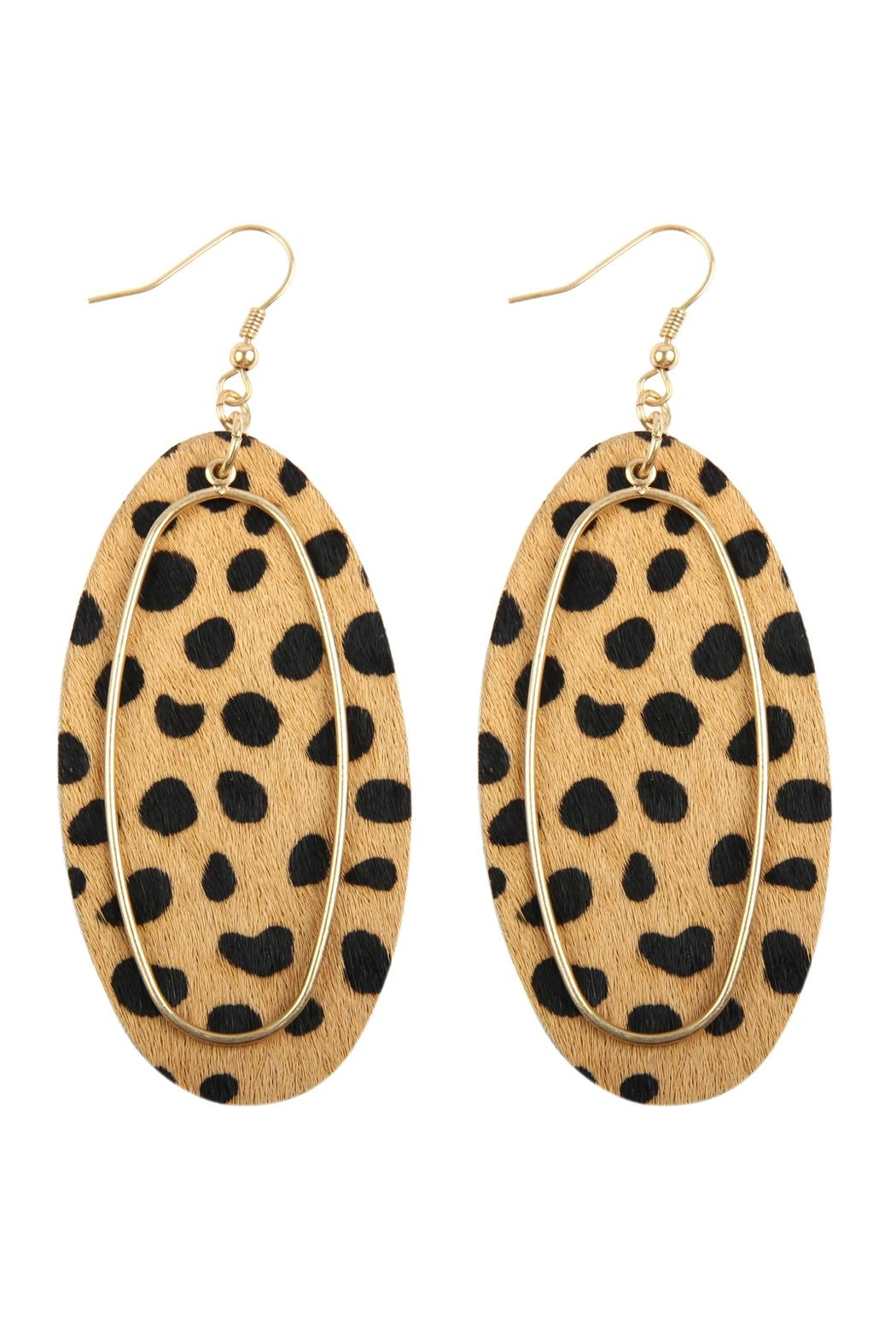 Riah Fashion Animal Printed Oblong-Leather-Earrings - Front Cropped Image