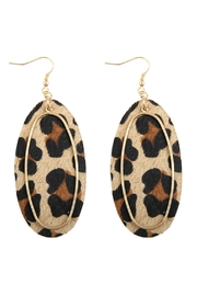 Riah Fashion Animal Printed Oblong-Leather-Earrings - Front cropped