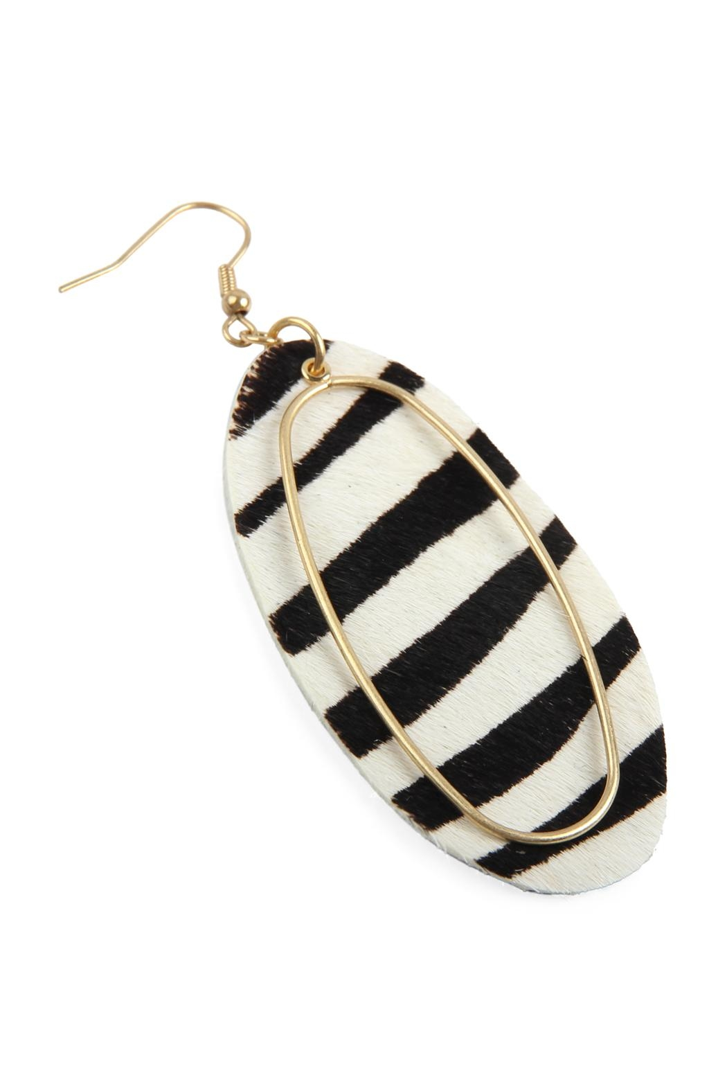 Riah Fashion Animal Printed Oblong-Leather-Earrings - Front Full Image