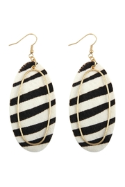 Riah Fashion Animal Printed Oblong-Leather-Earrings - Product Mini Image