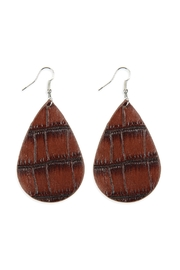 Riah Fashion Animal-Skin-Print Teardrop-Leather-Earrings - Product Mini Image