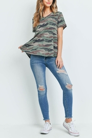 Riah Fashion Argrbrown-Short-Sleeves-V-Neck-Camouflage-Top - Product Mini Image