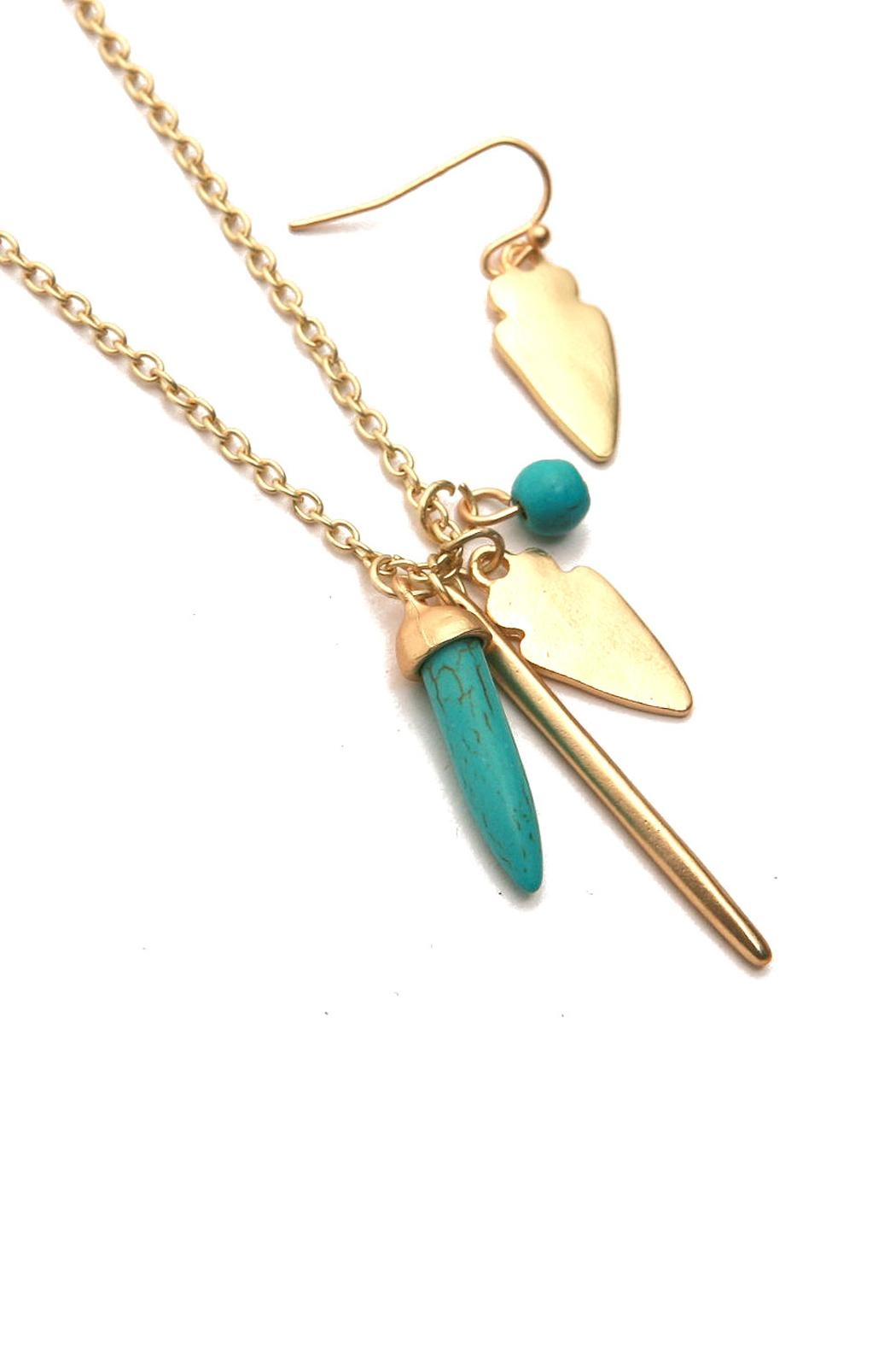 Riah Fashion Arrowhead Necklace Set - Front Full Image