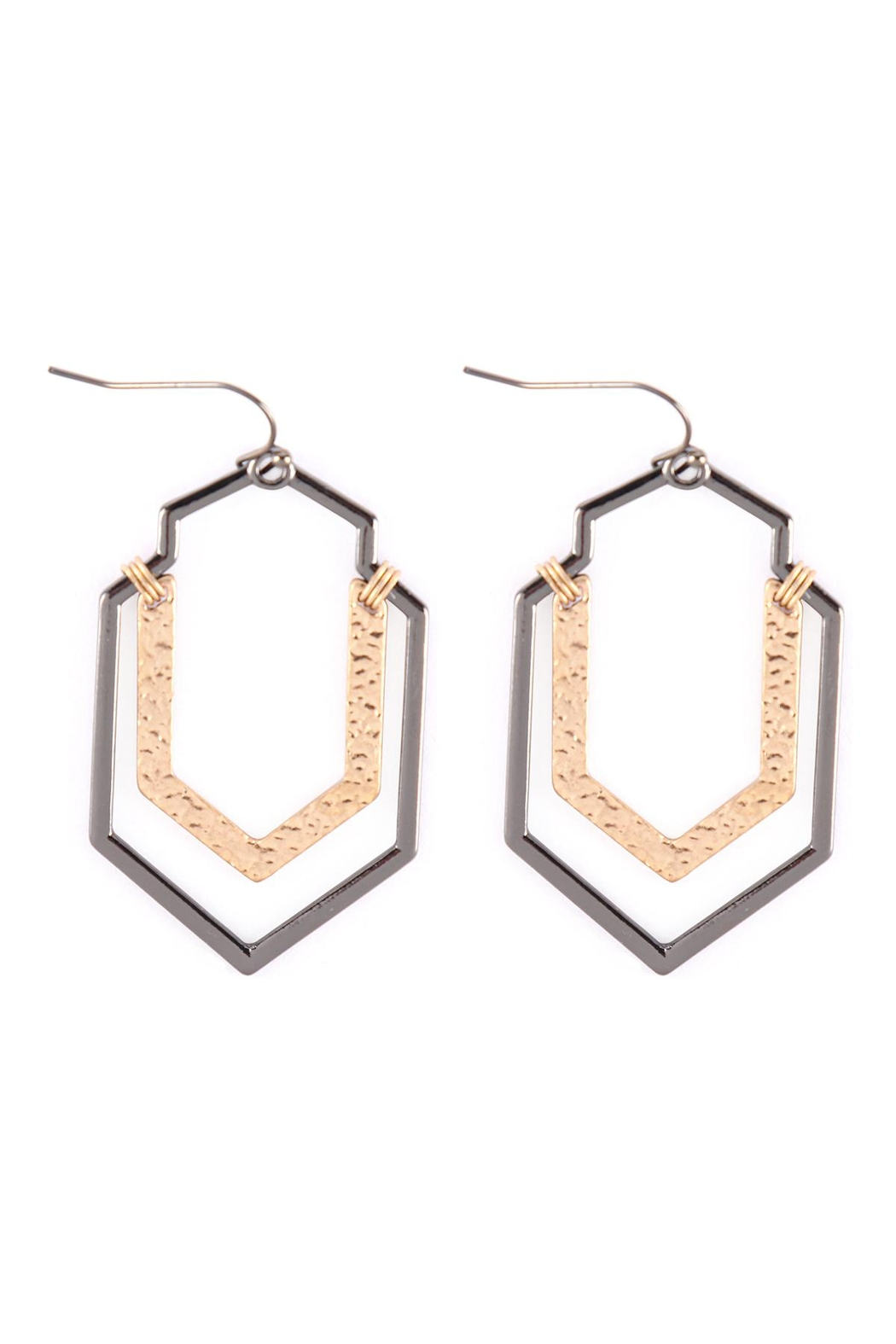 Riah Fashion Artdeco-Hammered-Wire-Hook-Earrings - Front Cropped Image