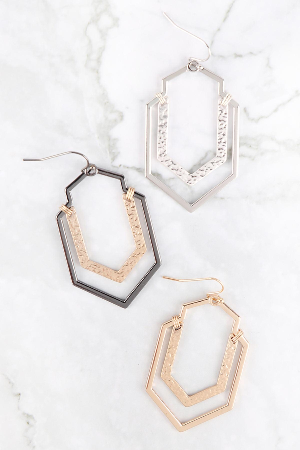 Riah Fashion Artdeco-Hammered-Wire-Hook-Earrings - Front Full Image