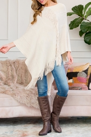 Riah Fashion Asymmetric Fringe Poncho - Product Mini Image