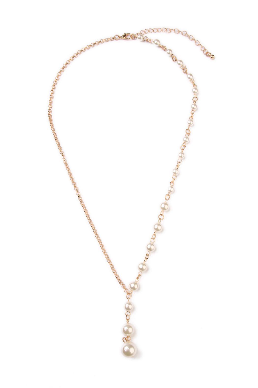 Riah Fashion Asymmetrical Peal Necklace - Front Cropped Image