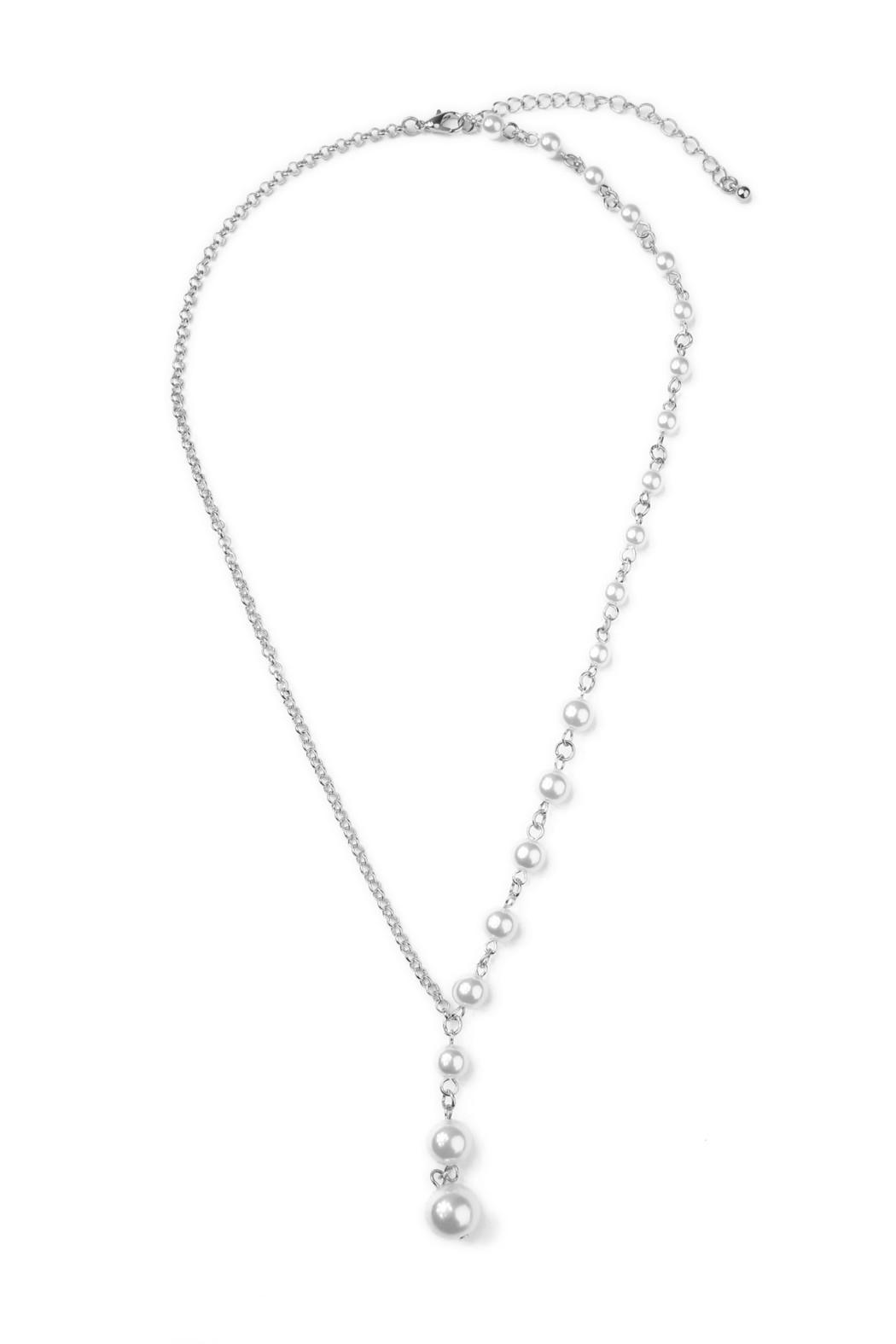 Riah Fashion Asymmetrical Peal Necklace - Main Image