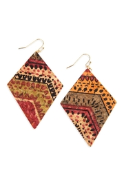 Riah Fashion Attern Printed-Cork-Rhombus-Shape-Earrings - Product Mini Image