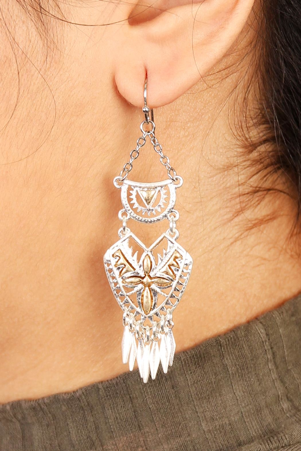 Riah Fashion Aztec Chandelier Earrings - Front Full Image