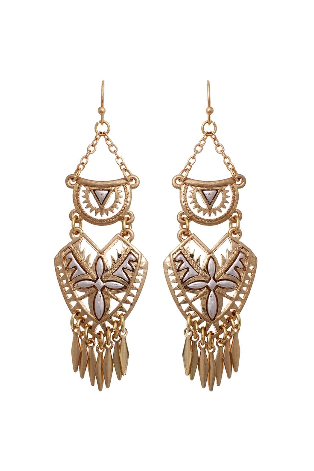 Riah Fashion Aztec Chandelier Earrings - Front Cropped Image