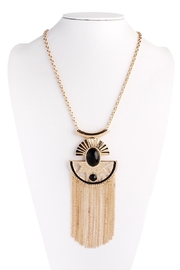 Riah Fashion Aztec Tassel Necklace - Front cropped