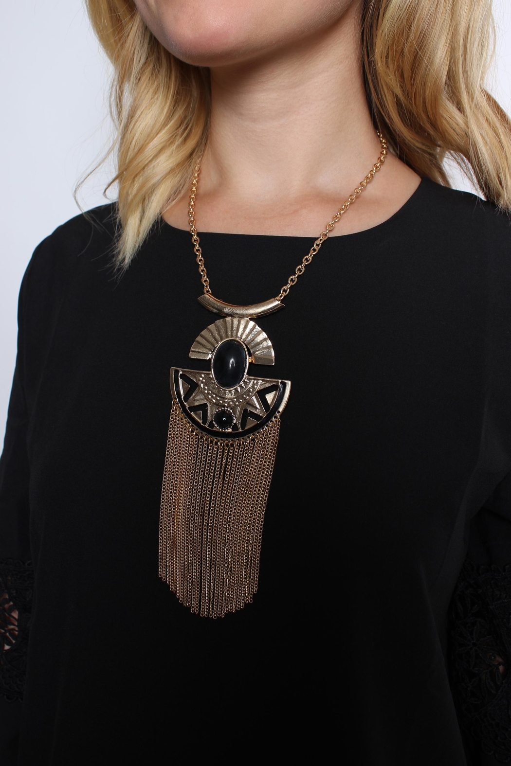 Riah Fashion Aztec Tassel Necklace - Front Full Image