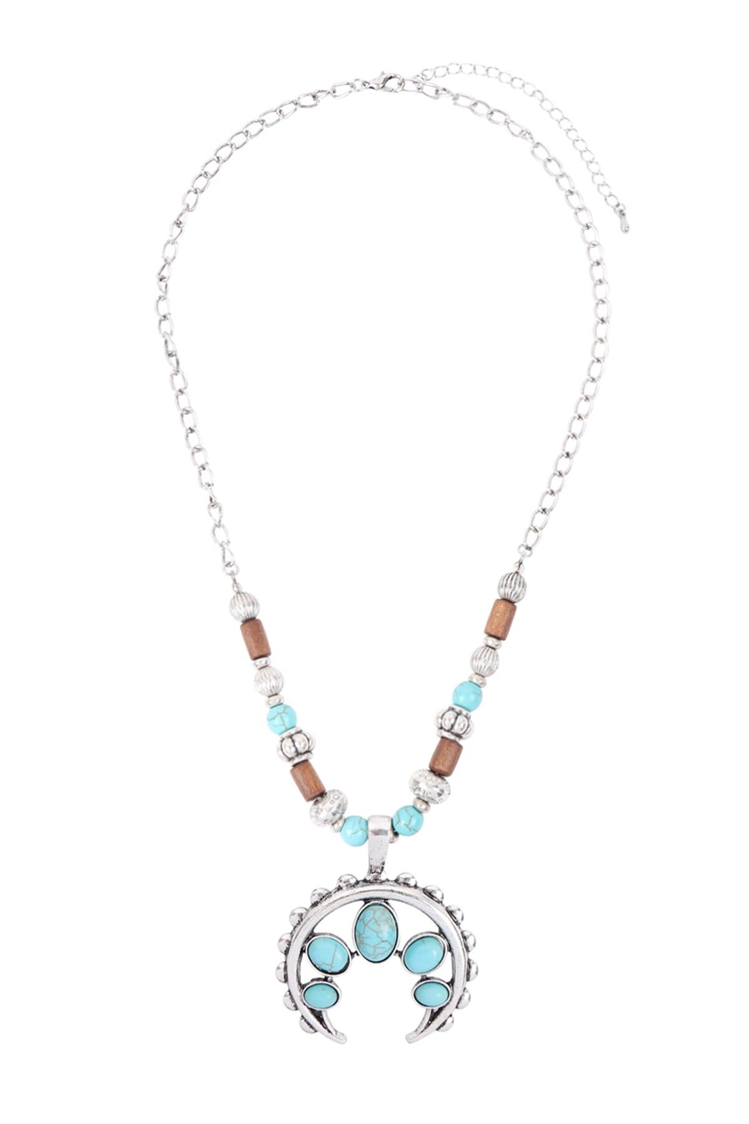 Riah Fashion Aztecs Quash Blossom Turquoise Necklace - Side Cropped Image