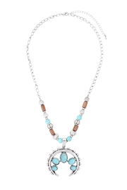 Riah Fashion Aztecs Quash Blossom Turquoise Necklace - Side cropped