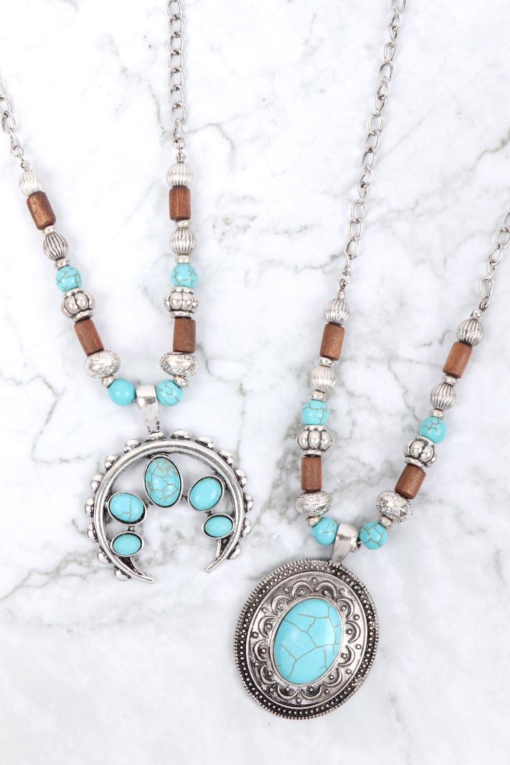 Riah Fashion Aztecs Quash Blossom Turquoise Necklace - Front Full Image