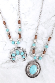 Riah Fashion Aztecs Quash Blossom Turquoise Necklace - Front full body