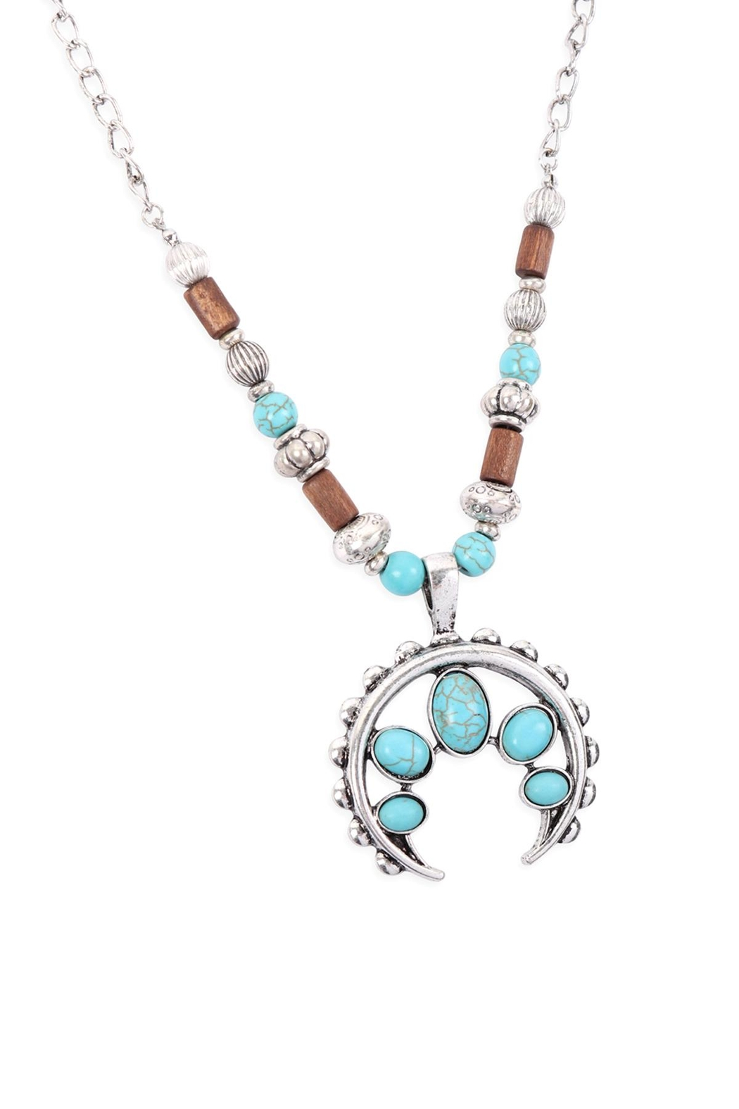 Riah Fashion Aztecs Quash Blossom Turquoise Necklace - Main Image